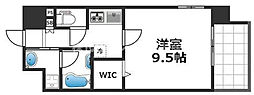 グランパシフィック花園Luxe 9階1Kの間取り