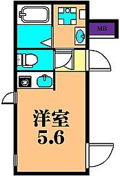 JR京浜東北・根岸線 大井町駅 徒歩4分の賃貸マンション 3階ワンルームの間取り