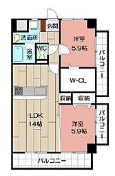 THE SQUARE・Club Residence[501号室]の間取り