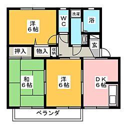ジュセル稲木[2階]の間取り