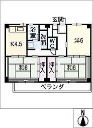 ビレッジハウス津 1号棟[1階]の間取り