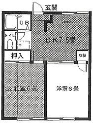 アーバイン大越B棟[2階]の間取り