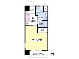 伊予鉄道高浜線 古町駅 徒歩1分の賃貸マンション 6階1Kの間取り