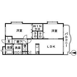 神奈川県厚木市妻田北1丁目の賃貸マンションの間取り