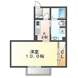 JR内房線 長浦駅 徒歩12分の賃貸アパート 2階ワンルームの間取り