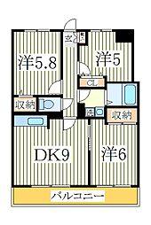 ローズ・ウッド[2階]の間取り