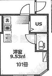 仮)アーバンプレイス要町 1階ワンルームの間取り