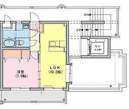 (仮称)都城牟田町マンション北棟 2階1LDKの間取り
