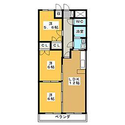 アムール・三ツ屋[3階]の間取り