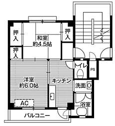 ビレッジハウス招提2号棟2階Fの間取り画像