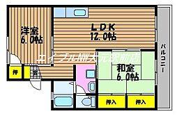 岡山県岡山市南区福富西2丁目の賃貸アパートの間取り