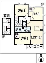 第二プリムローズ宝神 A棟[2階]の間取り