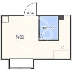 昭和グランドハイツ同心 8階ワンルームの間取り
