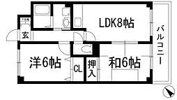 カーサスミリア萩[4階]の間取り