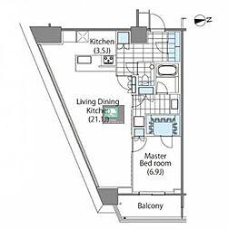 コンフォリア新宿イーストサイドタワー 19階1LDKの間取り