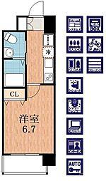 Osaka Metro御堂筋線 西田辺駅 徒歩2分の賃貸マンション 9階1Kの間取り