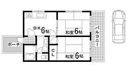 兵庫県神戸市長田区寺池町2丁目の賃貸アパートの間取り