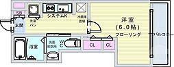 阪神なんば線 九条駅 徒歩12分の賃貸マンション 2階1Kの間取り