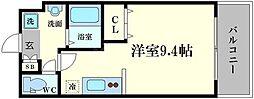仮称)都島本通4丁目新築マンション 9階ワンルームの間取り