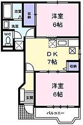 東京都羽村市羽中3丁目の賃貸アパートの間取り