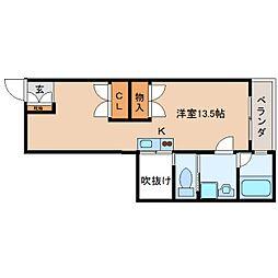 静岡鉄道静岡清水線 御門台駅 徒歩5分の賃貸マンション 2階ワンルームの間取り