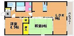 岡山県岡山市南区万倍丁目なしの賃貸マンションの間取り