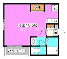 西武池袋線 秋津駅 徒歩6分の賃貸アパート 2階ワンルームの間取り