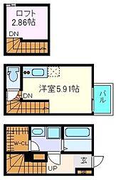 仙台市営南北線 旭ヶ丘駅 徒歩7分の賃貸アパート 1階ワンルームの間取り
