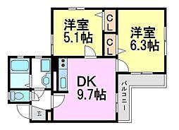 兵庫県尼崎市東園田町3丁目の賃貸マンションの間取り