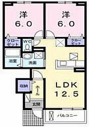 ノーブルハウス八幡ーB[102号室]の間取り