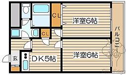 ジオナ天神橋[6階]の間取り
