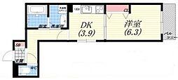 北向陽町マンションプレジェクト 3階1DKの間取り