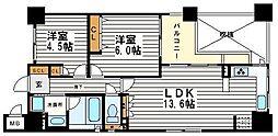 サーパス松屋町筋[6階]の間取り