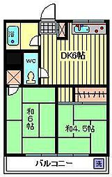 須賀ハイツ[206号室]の間取り