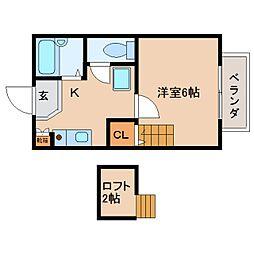 奈良県大和高田市礒野南町の賃貸アパートの間取り