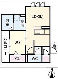 仮)D-room加納東広江町 2階1LDKの間取り