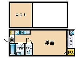 福岡県福岡市博多区比恵町丁目の賃貸アパートの間取り