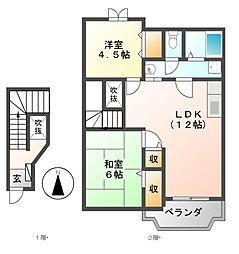 メゾンリヴィエールA・B[2階]の間取り