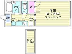 JR仙山線 東北福祉大前駅 3.7kmの賃貸アパート 1階1Kの間取り