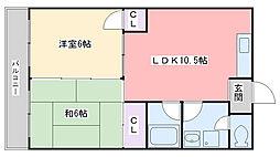 福岡県福岡市西区周船寺3丁目の賃貸マンションの間取り