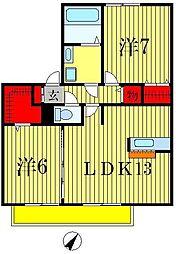 ラシュレメゾン・B[2階]の間取り