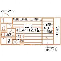 グラース(仮称佐賀大医学部前学生マンション) 2階1LDKの間取り