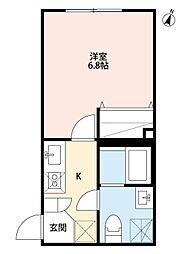 仙台市営南北線 長町駅 徒歩5分の賃貸アパート 2階1Kの間取り