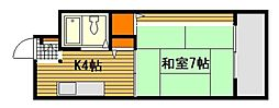JR山陽本線 宮内串戸駅 徒歩26分の賃貸マンション 4階1Kの間取り