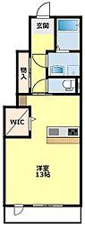 名鉄三河線 上挙母駅 徒歩11分の賃貸アパート 1階ワンルームの間取り