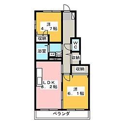 ファーストコートB[1階]の間取り