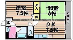 岡山県倉敷市玉島上成丁目なしの賃貸マンションの間取り