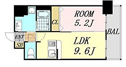 ディームス江坂 3階1LDKの間取り