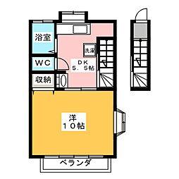 アパート ヒリョン 2階1DKの間取り