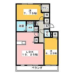 サンヒルズ B棟[1階]の間取り
